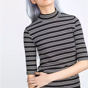 High Neck Stripes Half-sleeve Stretch Slim Tops T-shirts [4918734404]