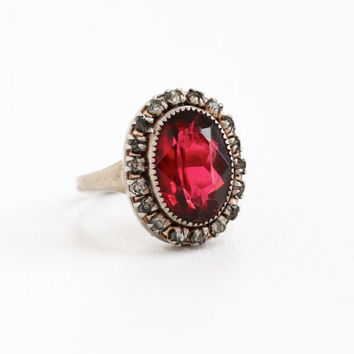 Vintage Art Deco Simulated Ruby & Rhinestone Cluster Ring - Adjustable 1930s Sterling Silver Adjustable Jewelry Hallmarked Martelli