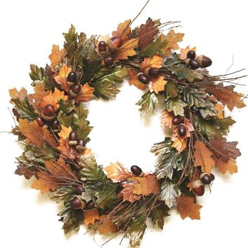 "20"" Autumn Harvest Decorative Brown and Green Artificial Leaves Acorns and Twigs Wreath - Unlit"