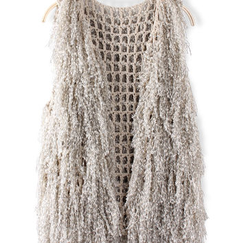 'The Evelyn' Mesh Knitted Sleeveless Cardigan
