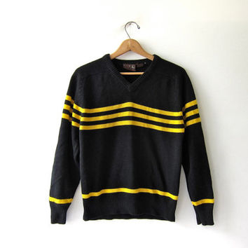 Vintage black & yellow striped sweater. Iowa Hawkeyes College Sweater. sports pullover sweater