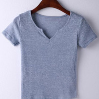 Light Blue Short Sleeve V Neck Ribbed T-shirt