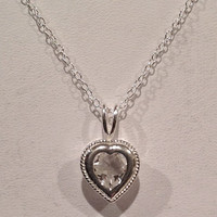 White Topaz Heart Pendant - Heart Cut in .925 Sterling Silver! Necklace with Chain! VALENTINE'S DAY SPECIAL