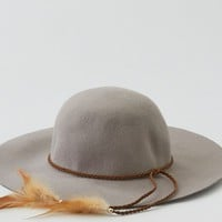 AEO Women's Wool Feather Floppy Hat (Grey)