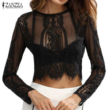 ZANZEA Sexy Women Lace Crop Tops 2017 Summer O Neck Zipper Long Sleeve Blouse Shirts See Through Blusas Pullover Plus Size 5XL