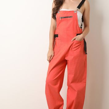 Chain And Zipper Detail Overalls