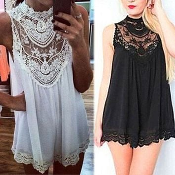 Sexy Ladies Sleeveless Vest Style Black White Mini Sheer Lace Panel Dress(2-Color) I