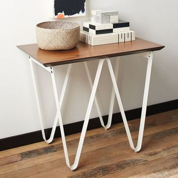 Triangle Base Side Table – White