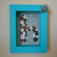 Shadow Box with Button Initial Custom Order Nursery by Acires