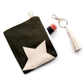 Recycled Military STAR Coin Purse, Waxed Cotton Zipper Wallet, Recycled Canvas Purse with Vegan Leather Star Accent