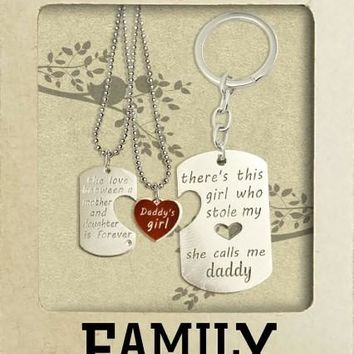 Shania Family Set of 2 Necklaces with a Key chain, Inspirational Quote and Greeting Card