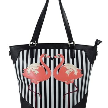 Nautical Retro Pink Flamingo Black White Striped Tote Bag