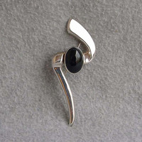 Mexican Sterling Silver Pin Black Onyx Modernism Brooch 925 Mexico Abstract Shape 1960's Artist Designed Piece 4 1/2 Inches  Long