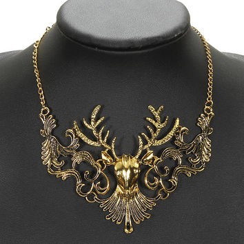 Unisex Antelope Deer Head Pendant Collar Necklace Retro Gold Jewelry