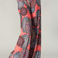Coral Unique Flower Palazzo Pants