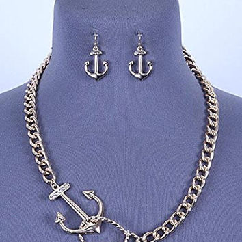 Womens Jewelry, Goldtone Link Necklace Set with Anchor Pendant. Length: 23 Inches.