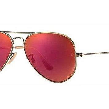 Kalete Ray-Ban RB3025 167/2K 58 Aviator Sunglasses, Bronze Frame, Red 58mm Lenses