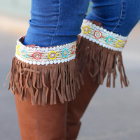 Beaded Fringe Boot Topper {Brown}