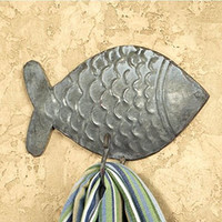 Vintage Tin Fish Wall Hook for Light Coats, Aprons, Hats, Towels, Pot Holders, More