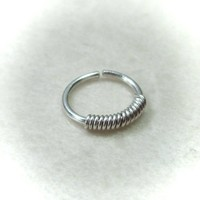 Silver Nose Ring with Silver Wrap