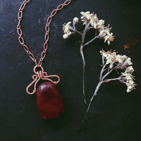 mahogany obsidian necklace • red stone necklace - crystal copper necklace - pagan jewelry - witch viking necklace