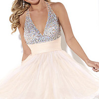 V-Neck Beaded Halter Top Short Dress by Hannah S