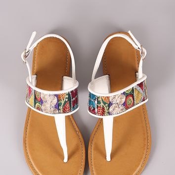 Bamboo T-Strap Embroidered Flat Sandal