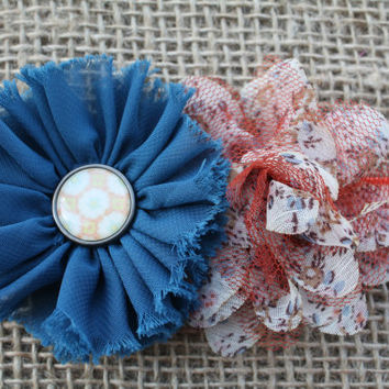 Ivory, Slate Blue and Burnt Orange Vintage Shabby Flower Headband, Shabby Chic and Fall Photo Prop, Autumn Infant, Toddler Headband