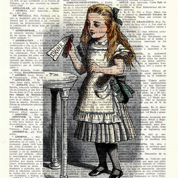 Alice in Wonderland Decor,Wall Print - Alice: drink me illustration Alice in wonderland wall art Print on Vintage Dictionary, gift BPAW042
