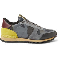 Valentino - Camouflage-Print Leather and Suede Sneakers | MR PORTER