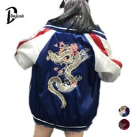 DayLook Autumn Women Basic Coat Street Slip Bomber Jacket Back Embroidery Dragon Loose Baseball Coat Souvenir Jacket Yokosuka