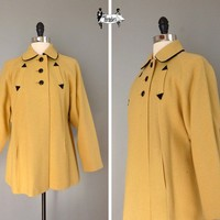 50s coat medium large  1950s winter coat mustard by theparaders