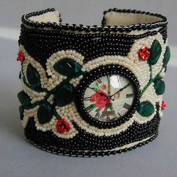 Faux Watch Bead Embroidered Cuff Bracelet~Watchface Bracelet~Cuff Bracelet~Bead Embroidered Cuff~Roses Cuff Bracelet~Floral Cuff Bracelet