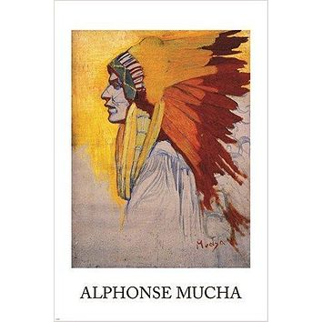 alphonse mucha INDIAN SIOUX vintage fine art poster 1908 HEADDRESS 24X36