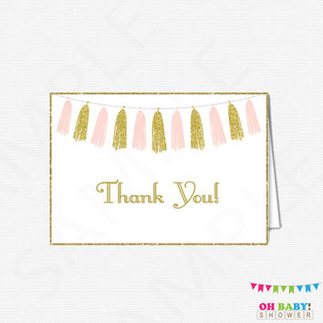 Pink Gold Thank You Cards, Baby Shower Thank You Cards, Girl Baby Shower, Printable Thank Yous, Thank You Cards Baby, Instant Download TASPG