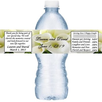 21 White Calla Lily Wedding Water Bottle Labels