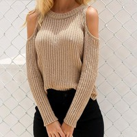 Women's Khaki/Tan Ribbed Cable Knit Cold Shoulder Long Sleeve Sweater Top
