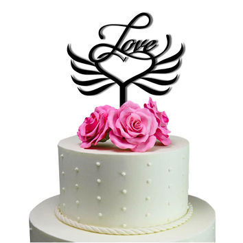 Cake Toppers Love Heart Wings Wedding Cake Toppers