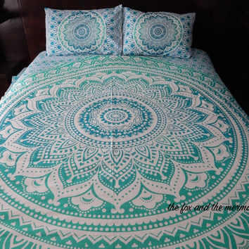Green ombre mandala tapestry duvet cover, flat bed sheet & 2 pillow cases. bohemian bedding, roundie mandala bed set, boho bedding