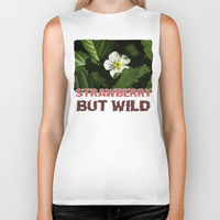 Wild Strawberry Flower Biker Tank by Digital2real
