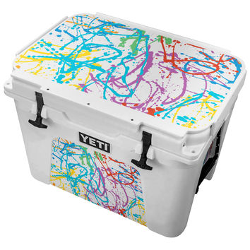 Rainbow Splattered Paint Canvas  Skin for the Yeti Tundra Cooler
