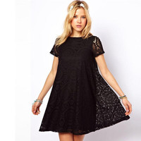 4XL 5XL European New Arrivals 2016 Women Dresses Fashion Casual Lace A Line Plus Size Dress White Black Green Red Clothing