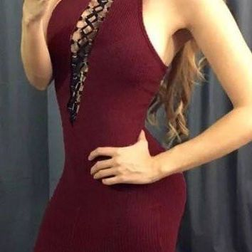 Bodycon Halter Dress in Split Cross Criss Front   Burgundy