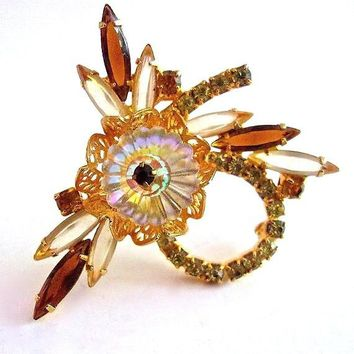 JULIANA Margarita Rhinestone Navettes Brooch, Flower Jonquil Yellow & Brown, Verified, Vintage Book Piece