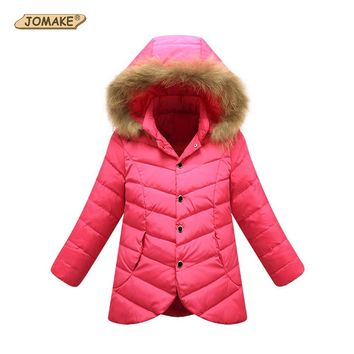 Winter Jackets Girls Fashion Kids Winter Coat Down Jacket for Girl Fur Hooded Children Warm Outerwear & Coats Teen Girls Clothes