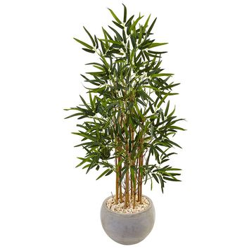 Artificial Silk Tree -4 Ft Bamboo Tree In Sand Colored Bowl