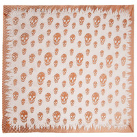 Bronze and White Stripe Skull Silk Scarf, Alexander McQueen. Shop the latest Alexander McQueen collection at Liberty.co.uk