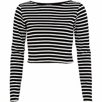 Black and white striped crop top - tops - sale - women