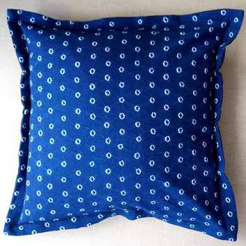 "Indigo blue pillow Navy tie dye cotton cushion Square 53cm 21""inches Dark blue home decor Ethnic style homeware Minimalist spots luxe Boho"
