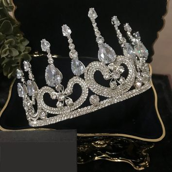 Beautiful Luxury Cubic Zirconia Crown Bridal Tiaras Diadem Wedding Pageant Cosplay